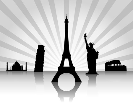 Background with landmarks. Vector