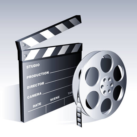 Movie clapperboard and reel.