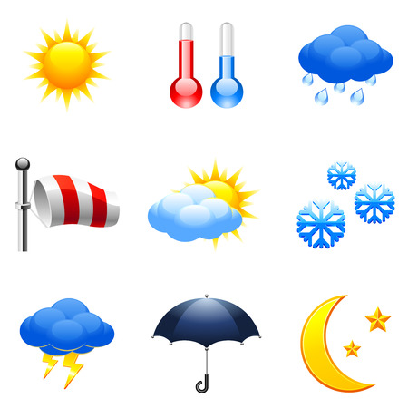 snowing: Weather icons. Illustration