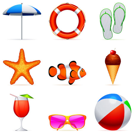 Summer vacation icons. Vector
