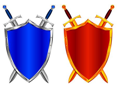 escudo militar: Escudos de oro y plata y espadas. Vectores