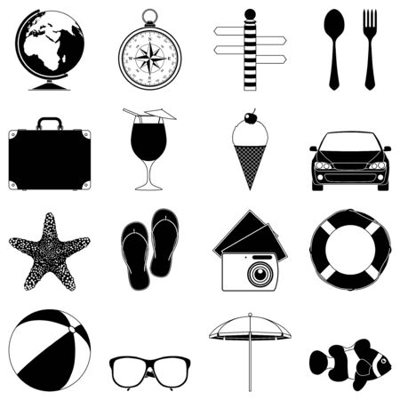 Travel and vacation icons. Illustration