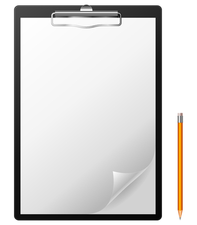 Clipboard with blank page and pencil. Vector
