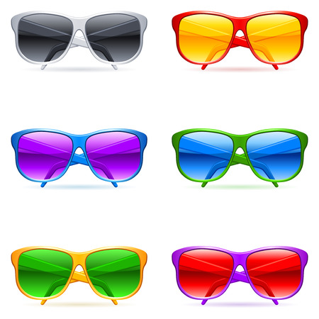 sunglasses reflection: Sunglasses set. Illustration