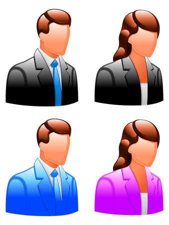 administrador de empresas: Brillantes iconos masculinos y femeninos.  Vectores
