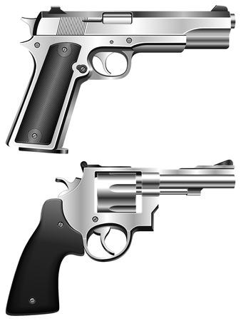 gun fight: Silver pistol and revolver.