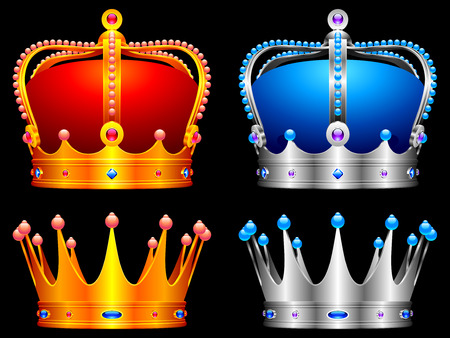 Golden and silver crowns decorated with jewels. Illustration