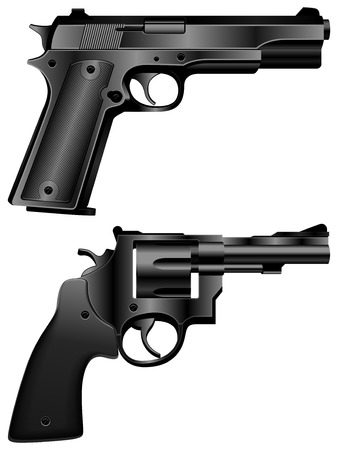 handgun: Black pistol and revolver.