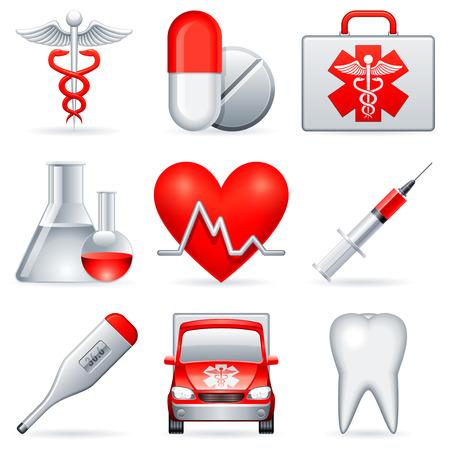 medico computer: Icone di mediche.