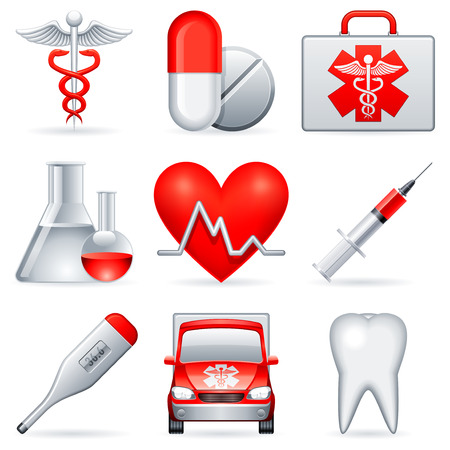 hilfsmittel: Medizinische Symbole.