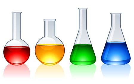 science chemistry: Glass flasks.