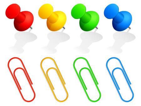 바인더: Collection of color pins and paper clips.