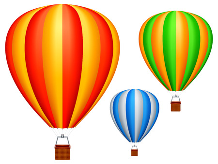 red balloons: Hot air balloons. Illustration