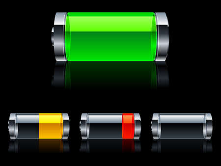 Batteries with various level of charge.