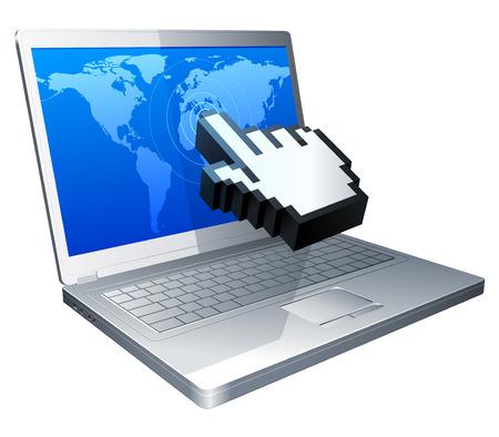 hands on keyboard: Laptop and cursor. Illustration