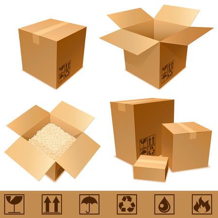 send parcel: Cardboard boxes. Illustration