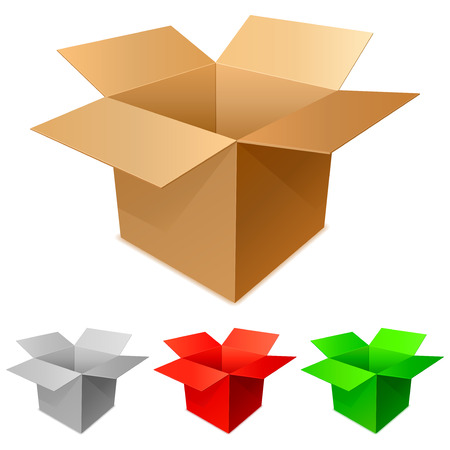 storage boxes: Cardboard boxes.   Illustration