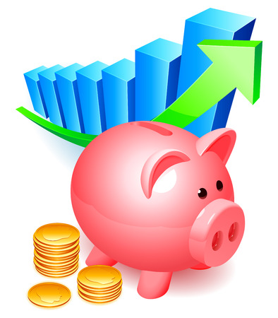 Piggy bank with golden coins and graph. Vector
