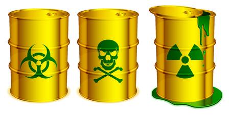 Barriles tóxicos. Ilustración de vector