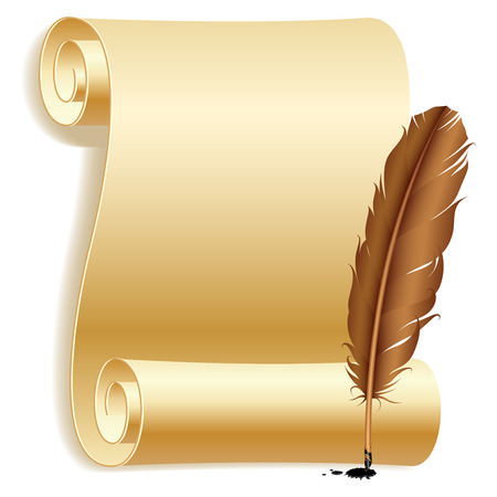 Paper and feather. Stock Vector - 9061853
