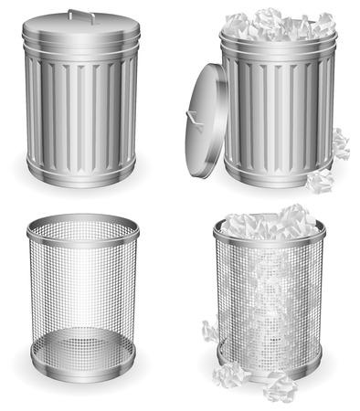 cesto basura: Latas de basura. Vectores