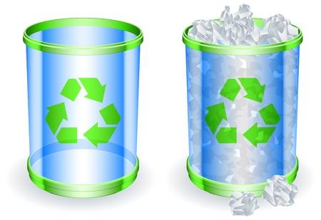 botes de basura: Latas de basura. Vectores