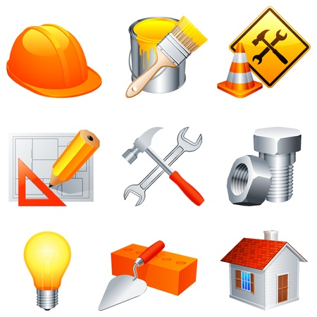 Construction icons. Stock Vector - 9319112