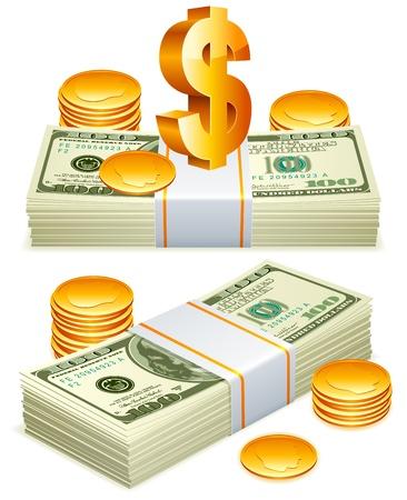 stack of cash: Paquetes de dinero.