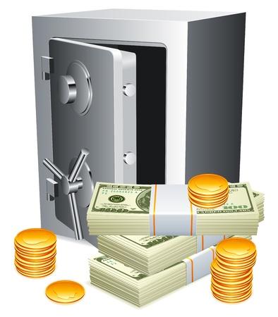 safe box: Safe and money.