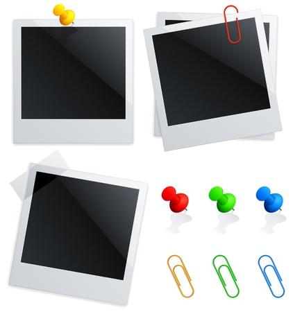 pushpins: Serie de fotos instant�neas en blanco, marcadores de colores y clips.
