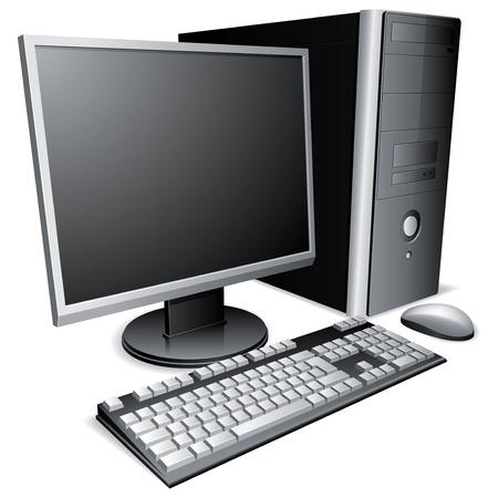 Computadora de escritorio con monitor LCD, teclado y ratón.