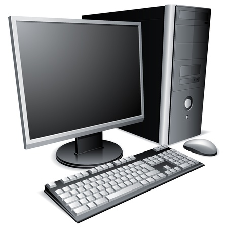 computer part: Desktop computer with lcd monitor, keyboard and mouse.