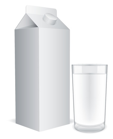 cartons: Blank milk pack and glass of milk. Illustration