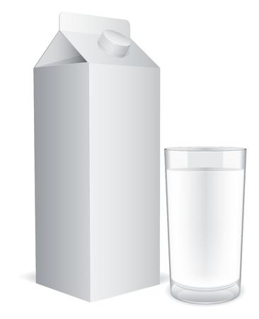 verre de lait: Pack de lait blanc et verre de lait.