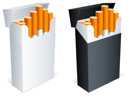 tobacco product: Two cigarette packs with cigarettes. Illustration