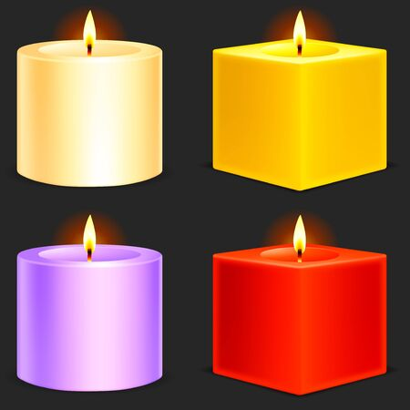 Four color candles. Vector