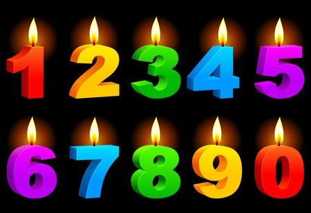 numerais: Numbered candles. Ilustra��o