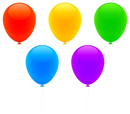 large group of object: Color balloons. Illustration