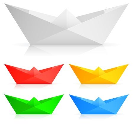 floating on water: Paper ships. Illustration
