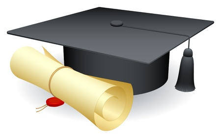 mortero: Gorro de graduación y diploma.