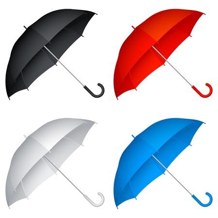 red umbrella: Umbrellas.