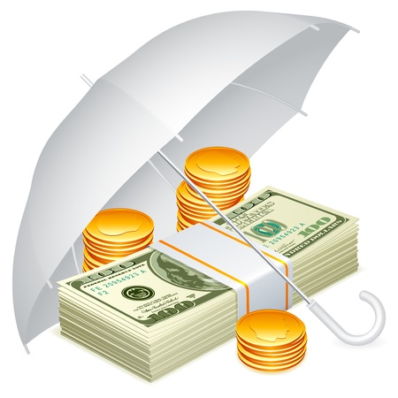saving accounts: Umbrella and money.