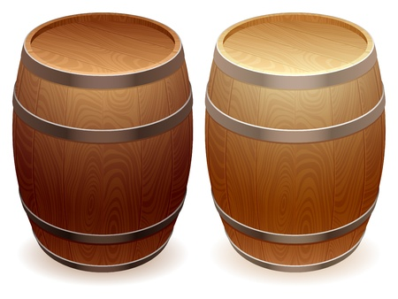 Wooden barrels. Vector