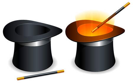 magic trick: Magic hat and wand. Illustration