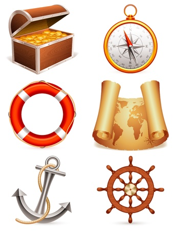 Marine icons. Vector