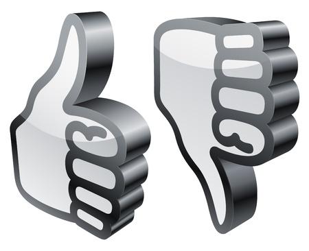 Thumbs up and down. Ilustração