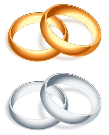 Los anillos de boda. Ilustración de vector