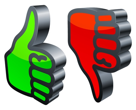 Thumbs up and down. Vector