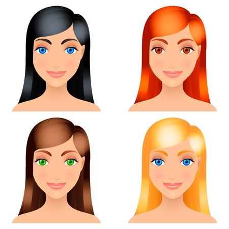 pelo rojo: Mujeres colores de pelo. Vectores