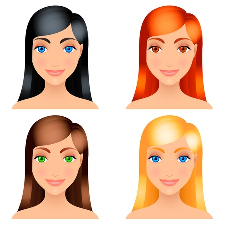 Women hair colors. Vector
